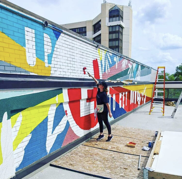 April Henry shared the progress of her mural located at Edgar's above Broad restaurant.  (Photo from Henry's Instagram page @aprilhenryking)